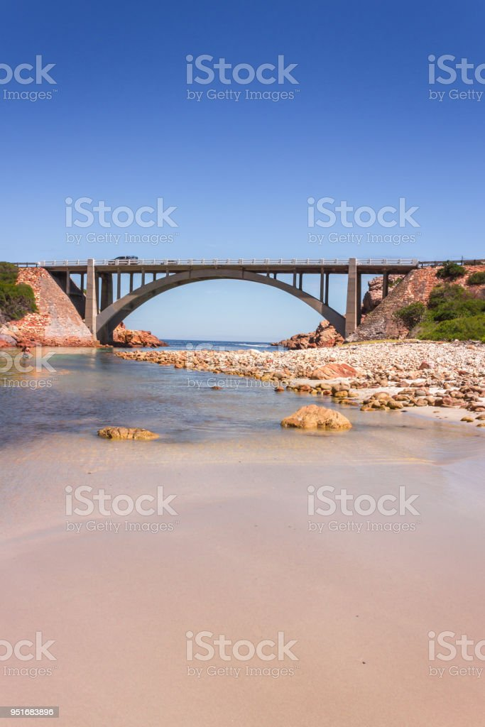 Bridge over the Steenbras River flowing from the Hottentots-Holland Mountains in Gordons bay, Cape Town, South Africa stock photo