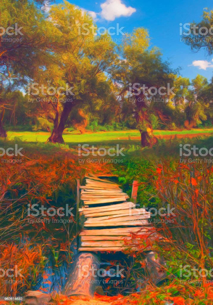 Bridge over the stream landscape painting stock photo