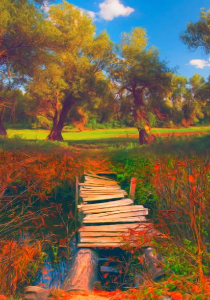 brücke über den bach landschaftsmalerei - waldmalerei stock-fotos und bilder
