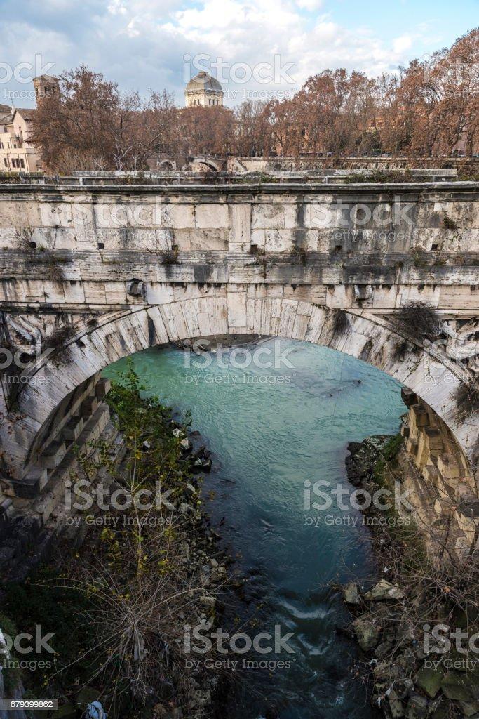 Bridge over the Tiber River in Rome, Italy royalty-free stock photo