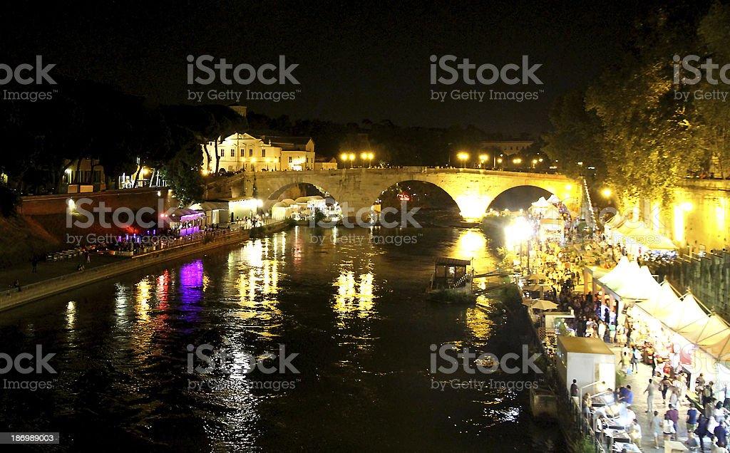 Bridge over the Tiber River stock photo