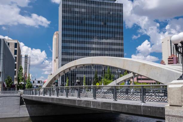 Bridge over the Truckee River stock photo