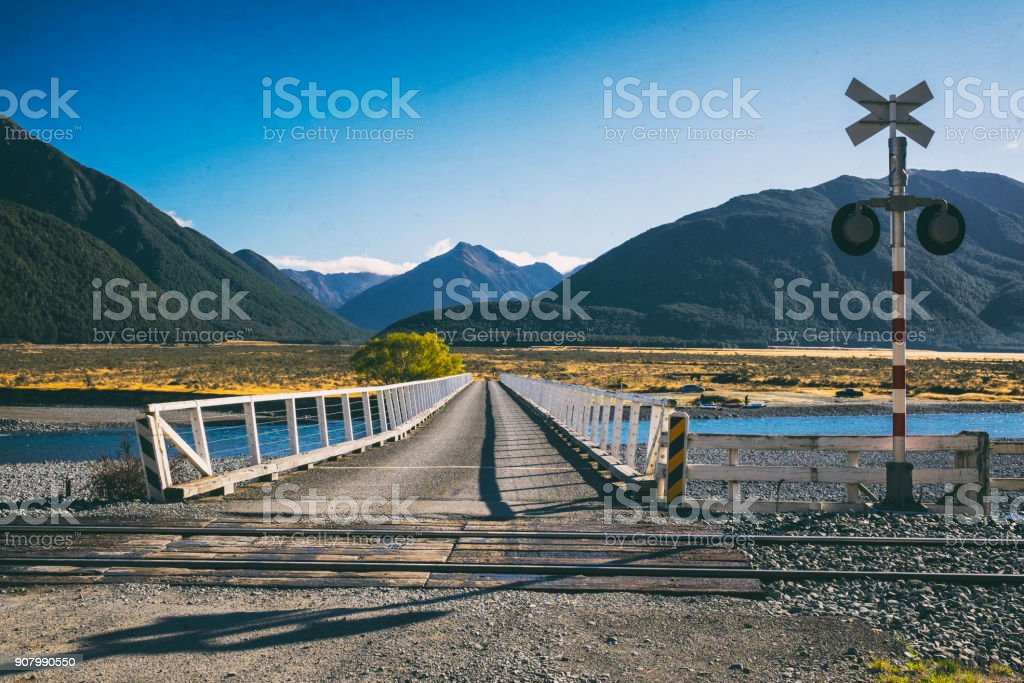 Bridge Over The Waimakariri In Arthur's Pass, New Zealand stock photo