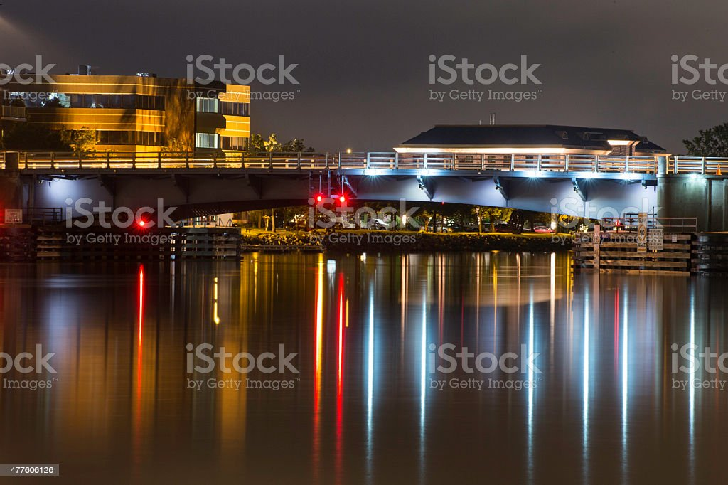Bridge over the water - Green Bay cityscape stock photo