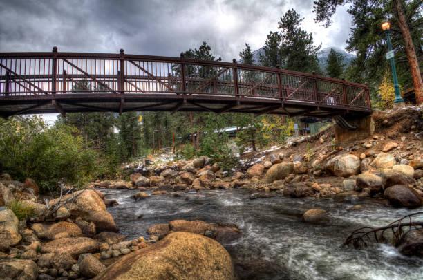 Bridge Over Troubled Waters - Estes Park, CO stock photo