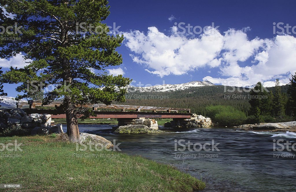 Bridge over Tuolumne River in Yosemite royalty-free stock photo