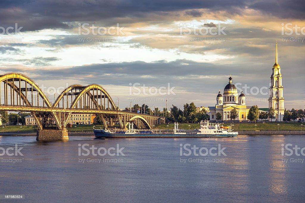 Bridge over Volga river stock photo