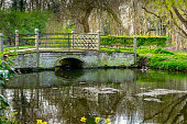 Bridge over water in a public park in England