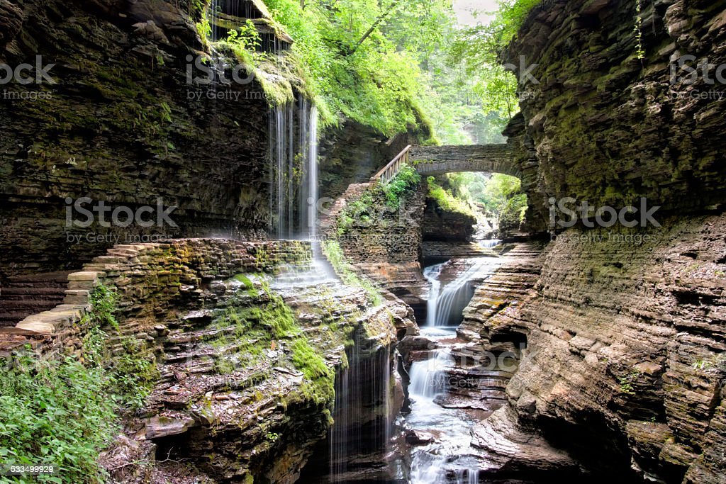 Bridge Over Waterfall in Watkins Glen Park, New York stock photo