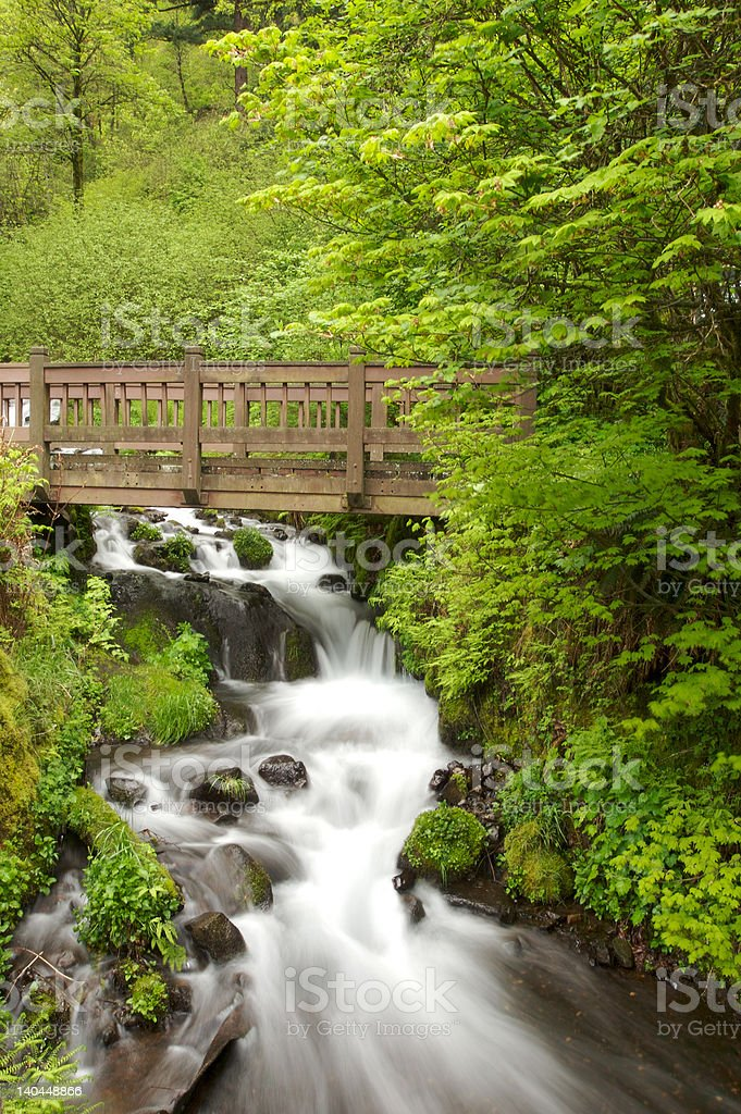 Bridge Over Waterfall royalty-free stock photo