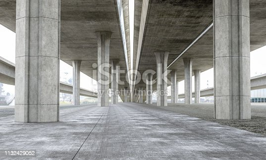 Bridge Parking lot modern concrete background stage