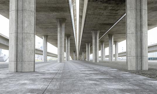 Bridge Parking lot modern concrete background stage