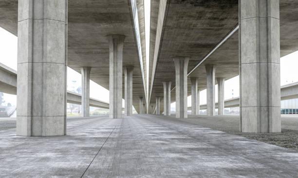 brückenparkplatz moderne betonhintergrund - tunnelkamin stock-fotos und bilder