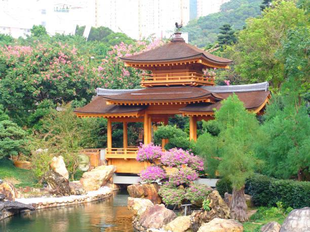 bridge pavilion in nan lian garden, hong kong - lian empty imagens e fotografias de stock