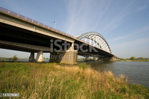 Wideangle view of a bridge across a river