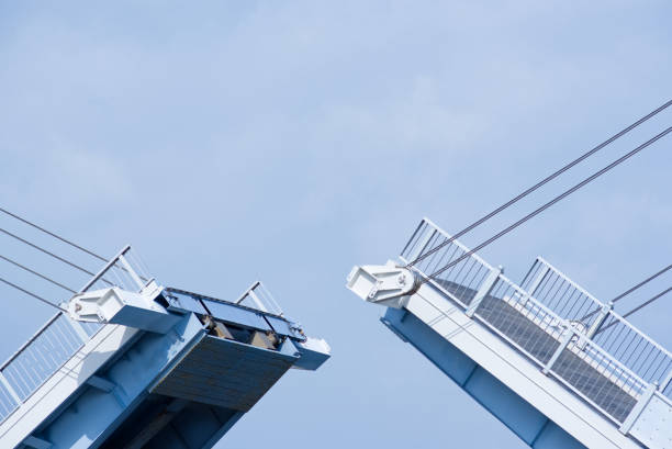 Bridge The bridge which is being opened and shut. bascule bridge stock pictures, royalty-free photos & images