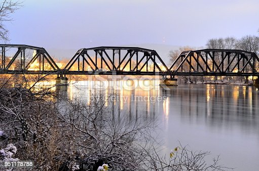 RR Bridge in early morning with lite snow
