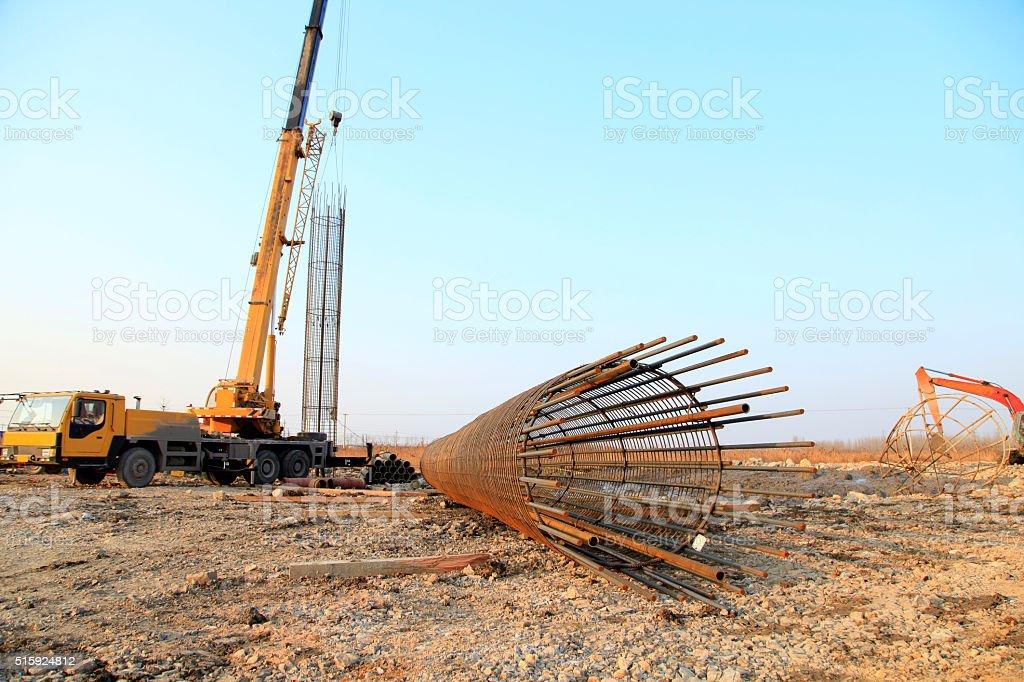 Bridge pile reinforcement structure stock photo