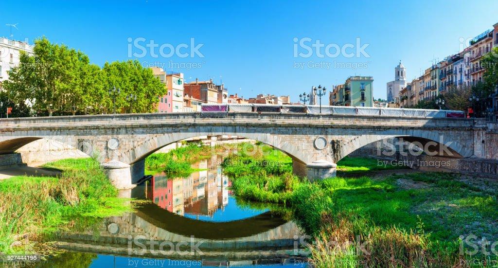 Bridge Pont de Pedra in Girona, Catalonia Spain stock photo