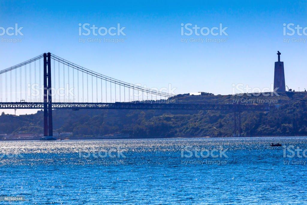 Bridge Ponte 25 April Tagus River Belem Lisbon Portugal stock photo
