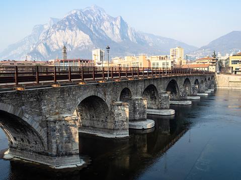 bridge Ponte Azzone Visconti in Lecco city