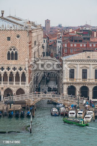 Venice, Italy - October 18, 2019: Bridge Ponte della Paglia at the Doge's Palace over the canal, view from a cruise ship