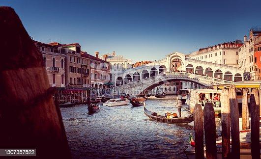 istock Bridge Ponte di Rialto in the Venice 1307357522