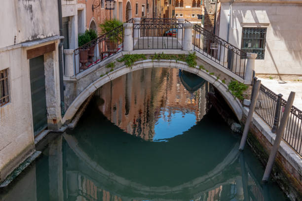 Bridge reflecting on a Venice canal stock photo