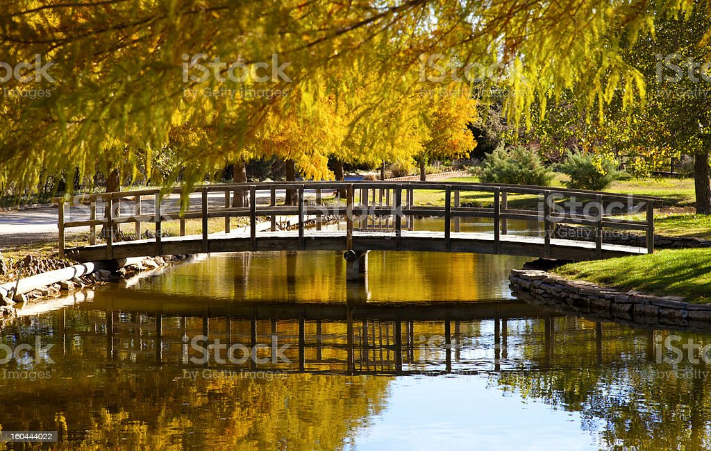 Bridge Reflection in Creek stock photo