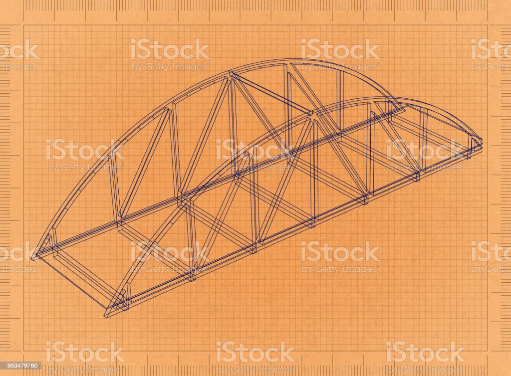 Brücke - Retro-Blueprint – Foto
