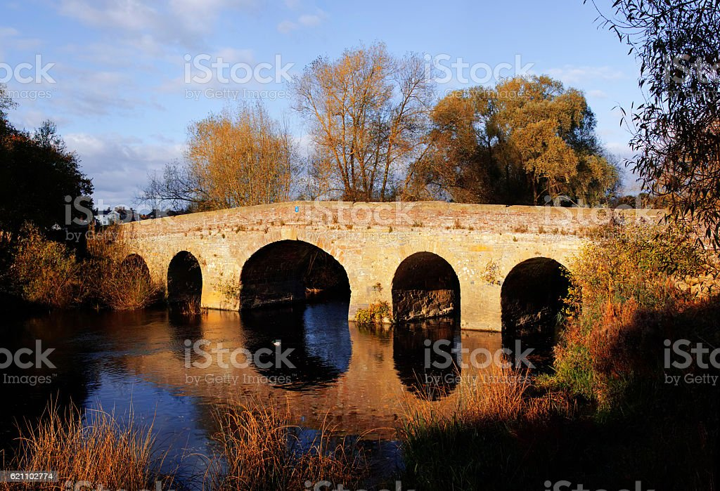 bridge river stock photo