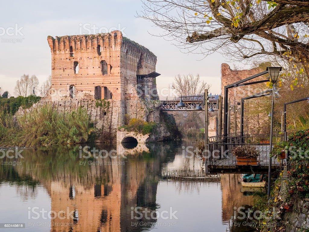 Bridge ruins at Borghetto Valeggio sul Mincio near Mantova stock photo