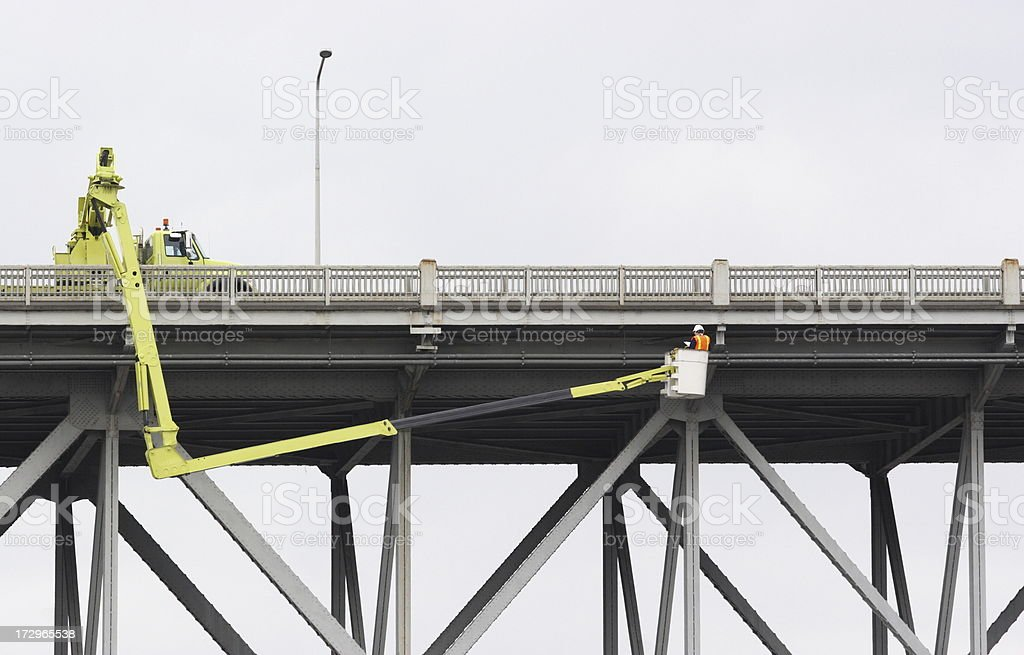 Bridge Safety Inspection Worker Construction Equipment stock photo