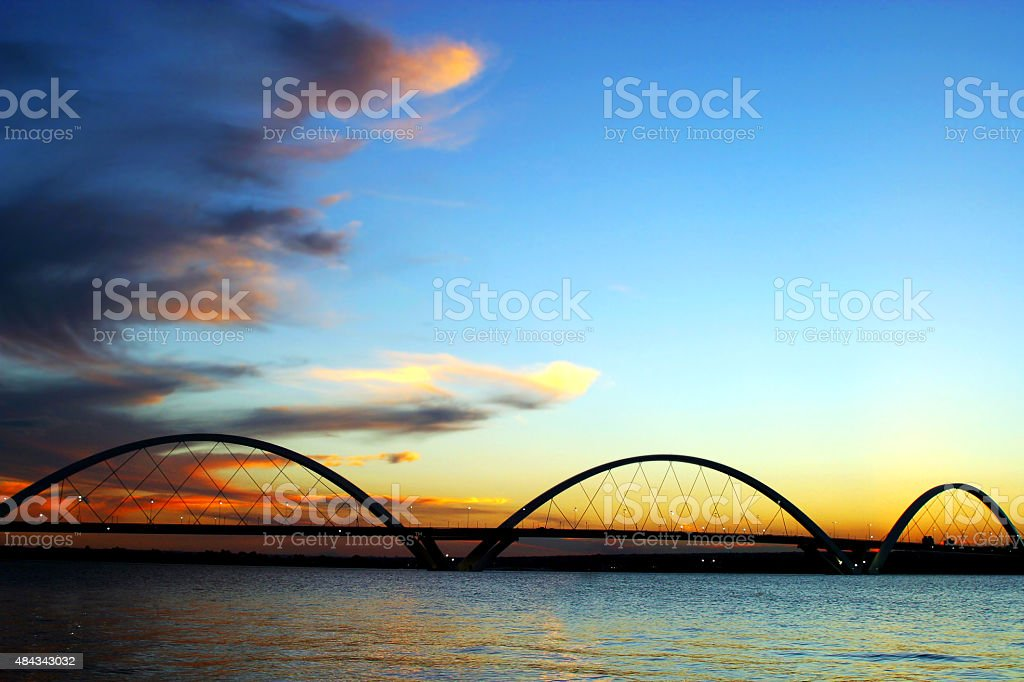 JK Bridge Silhouette on Sunset Brasilia Brazil stock photo