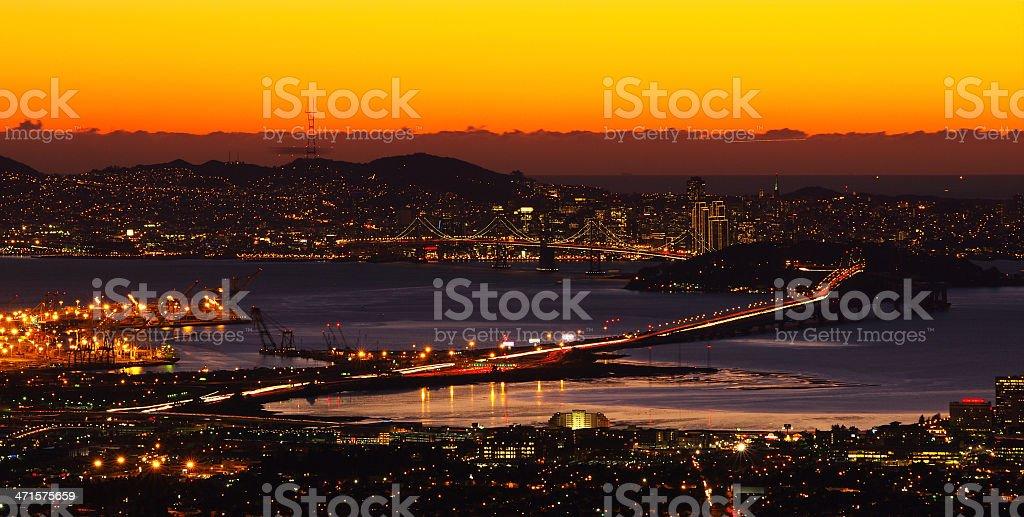 Bridge spanning across San Francisco Bay area, California, USA royalty-free stock photo