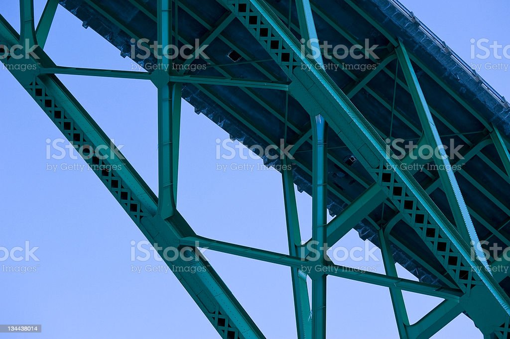 Bridge Steel Girder Detail of Supports stock photo