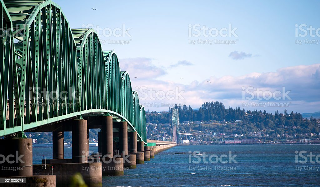 Bridge structure Columbia River in Astoria Pacific stock photo
