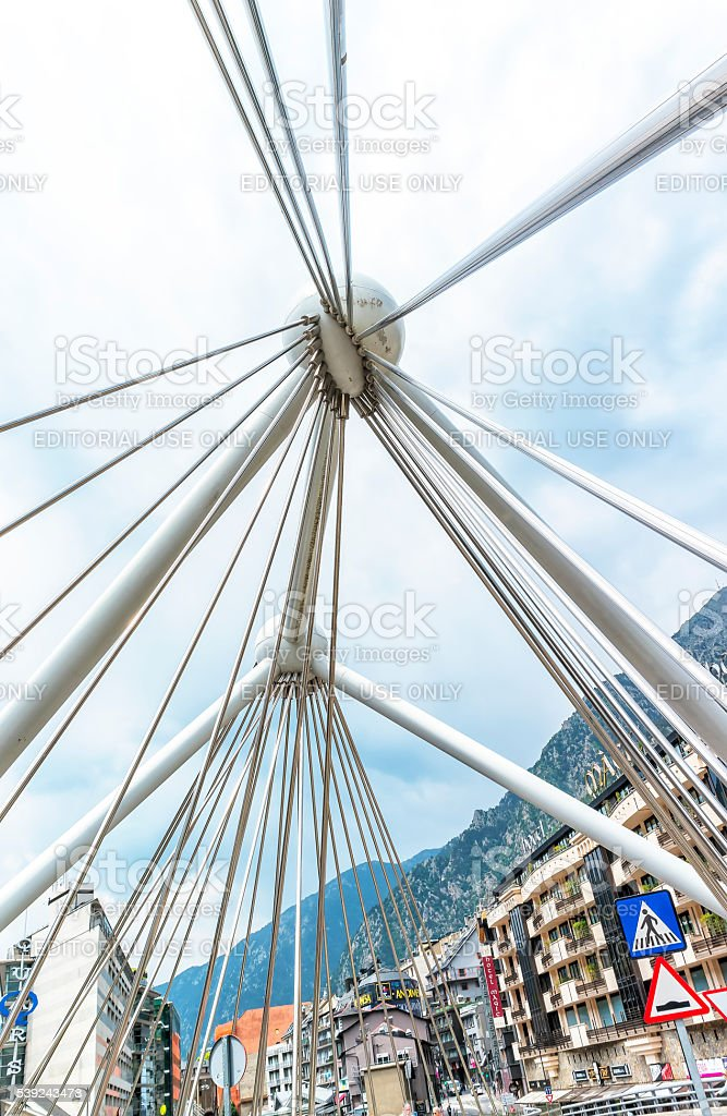 Bridge through Gran Valira river in Andorra la Vella, Andorra. royalty-free stock photo