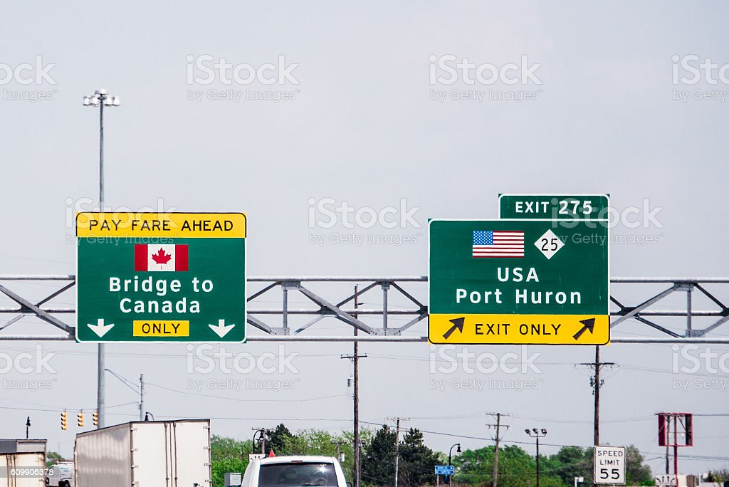 Bridge to Canada Sign stock photo