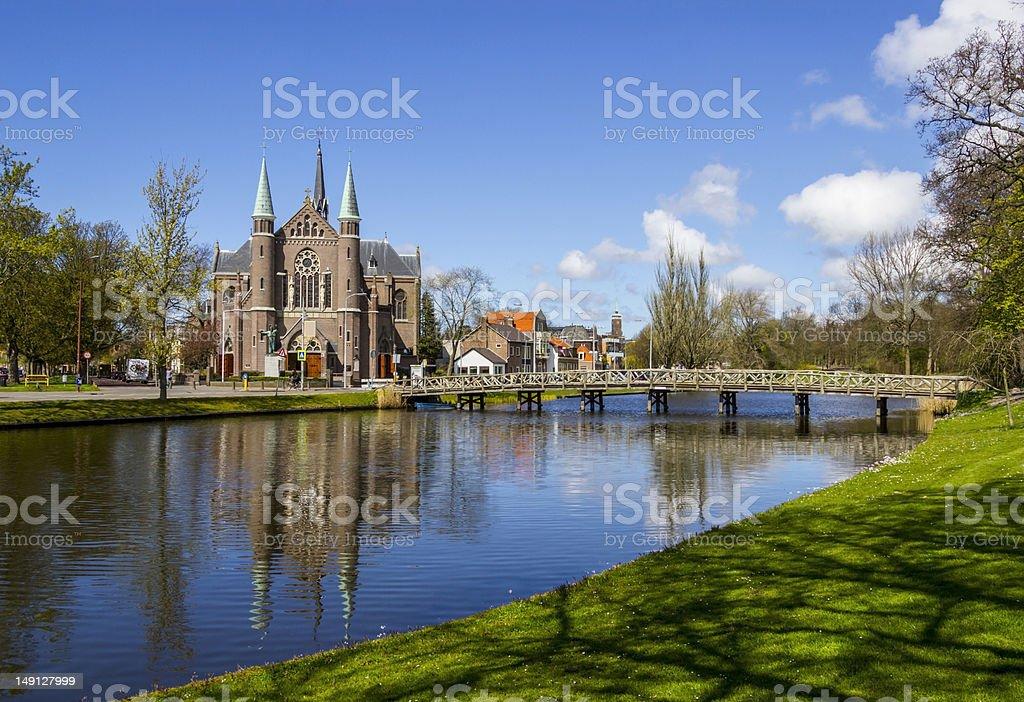 bridge to church, Alkmaar town, Holland, the Netherlands stock photo