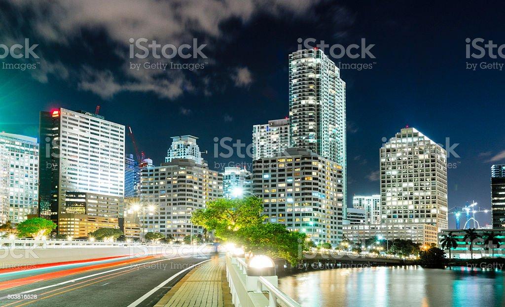 Bridge to Downtown Brickell Miami Skyline Cityscape at Night stock photo