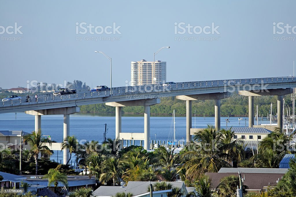 Bridge to Fort Myers, Florida. stock photo