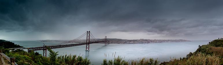 Bridge to Lisbon, named Ponte 25 de Abril, also called the sister bridge of the Golden Gate