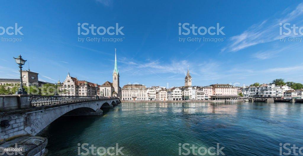 Bridge to old town in Zurich stock photo