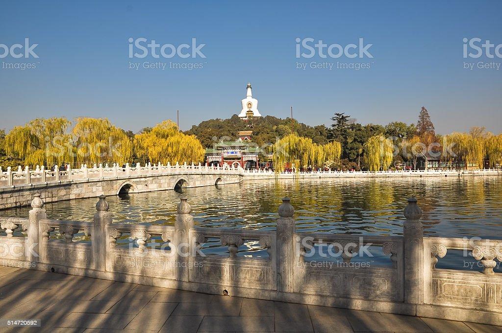 Bridge to the island in Beihai Park, Beijing stock photo
