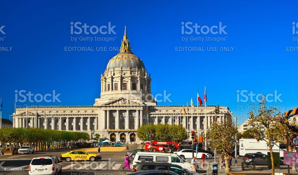 SAN FRANCISCO, CALIFORNIA, USA - OCTOBER 24, 2017: City Hall on sunny...