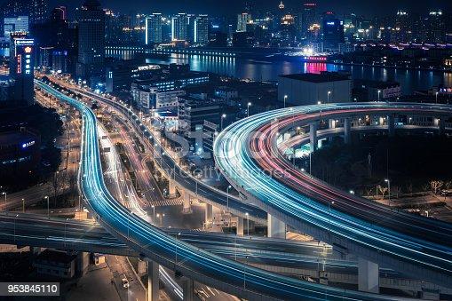 544101220 istock photo Bridge traffic at night in ShangHai China 953845110