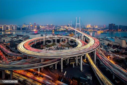 544101220 istock photo Bridge traffic at night 1089008458