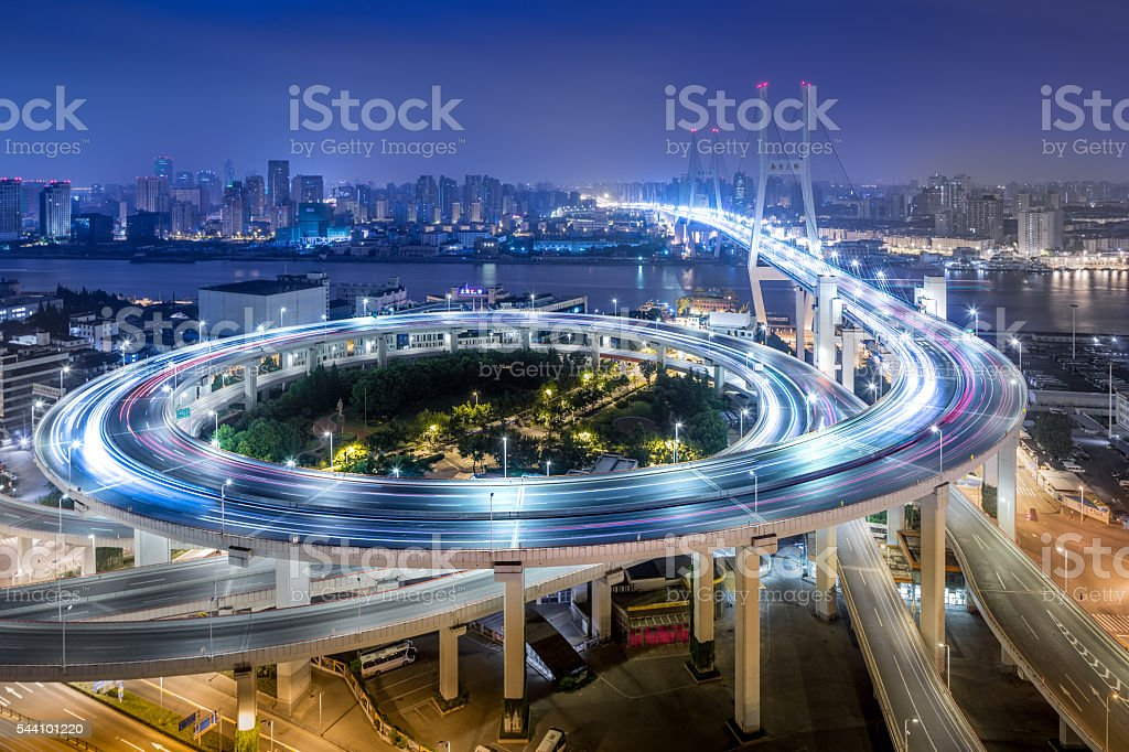 Bridge traffic at night stock photo