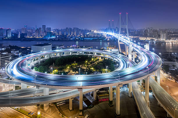 bridge traffic at night - long exposure stock pictures, royalty-free photos & images